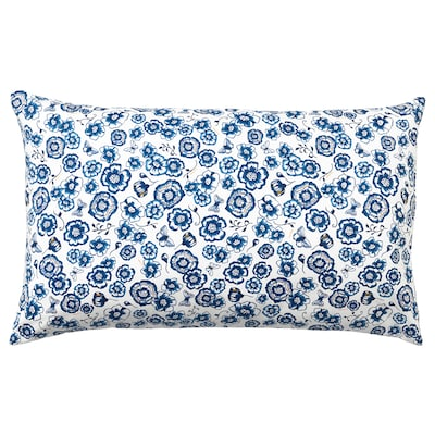 SÅNGLÄRKA Cushion, flower/blue white, 26x16 ""