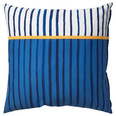 SÅNGLÄRKA Cushion, stripe/blue orange, 20x20 ""