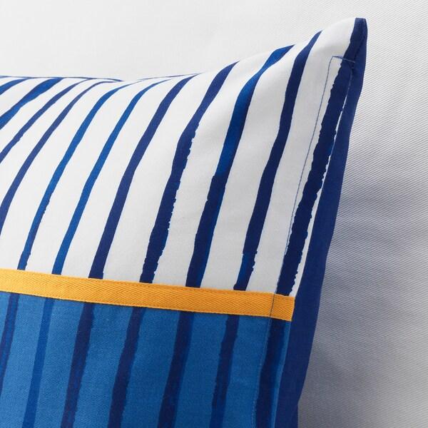 "SÅNGLÄRKA Cushion, stripe/blue orange, 20x20 """