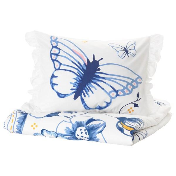 SÅNGLÄRKA Duvet cover and pillowcase(s), butterfly/white blue, Twin