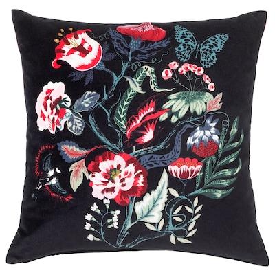 "SARALENA Cushion, black/multicolor, 20x20 """