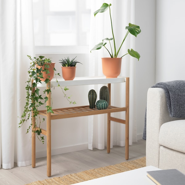 "SATSUMAS Plant stand, bamboo/white, 27 ½ """