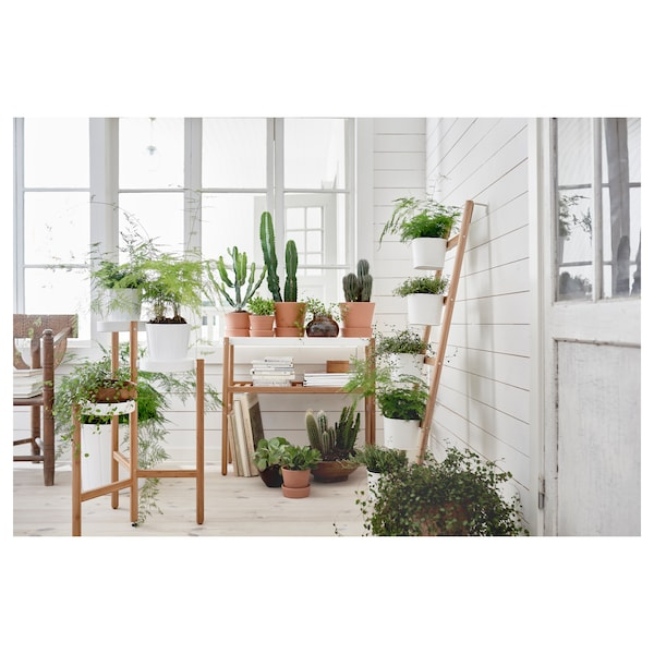 """SATSUMAS Plant stand with 5 plant pots, bamboo/white, 49 ¼ """""""