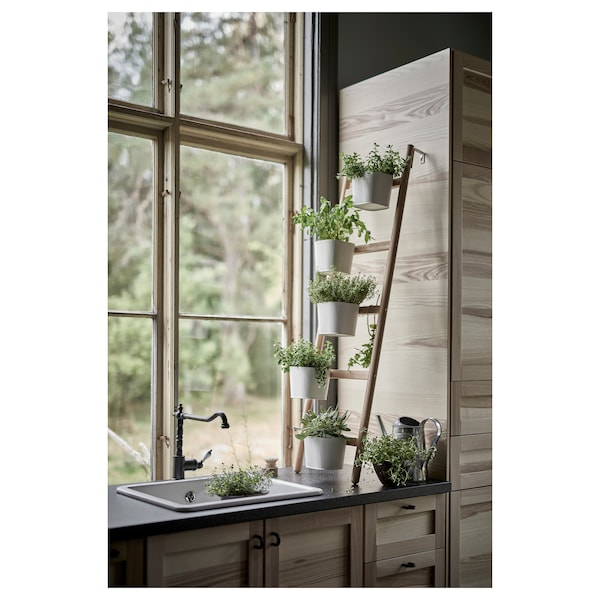 "SATSUMAS plant stand with 5 plant pots bamboo/white 7 lb 14 ¼ "" 49 ¼ "" 4 ¾ """