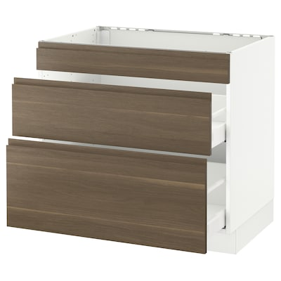 """SEKTION Base cab f/cooktop with 2 drawers, white Maximera/Voxtorp walnut, 36x24x30 """""""