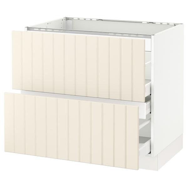 "SEKTION base cabinet f/cooktop w/3 drawers white Maximera/Hittarp off-white 36 "" 24 3/4 "" 34 1/2 "" 24 "" 30 """