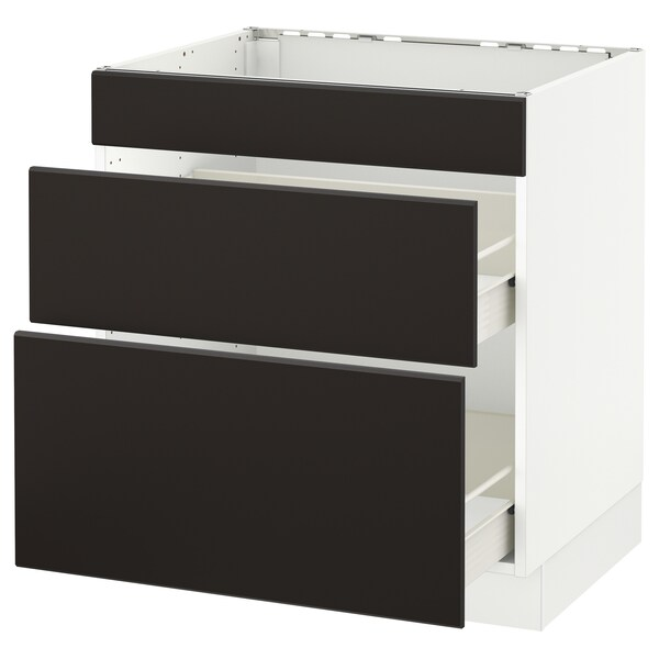 """SEKTION base cab f/cooktop with 2 drawers white Förvara/Kungsbacka anthracite 30 """" 24 """" 24 3/4 """" 30 """""""