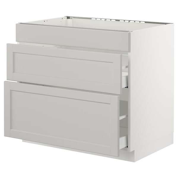 """SEKTION base cab f/cooktop with 2 drawers white Maximera/Lerhyttan light gray 36 """" 24 """" 24 3/4 """" 30 """""""