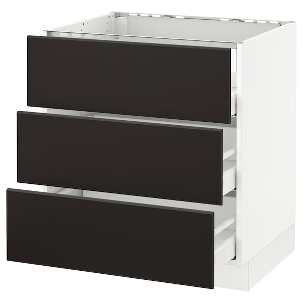 """SEKTION base cabinet f/cooktop w/3drawers white Maximera/Kungsbacka anthracite 30 """" 24 3/4 """" 34 1/2 """" 24 """" 30 """""""