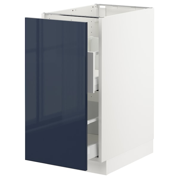 "SEKTION base cabinet for sorting + 1 door white Maximera/Järsta black-blue 15 "" 24 3/4 "" 34 1/2 "" 24 "" 30 """
