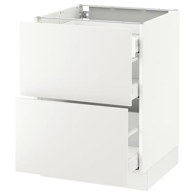 SEKTION Base cab with 2 fronts/3 drawers, white Maximera/Häggeby white, 24x24x30 ""