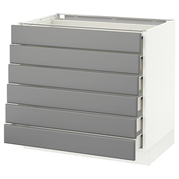 "SEKTION Base cabinet/6 fronts/6 low drawers, white Förvara/Bodbyn gray, 36x24x30 """