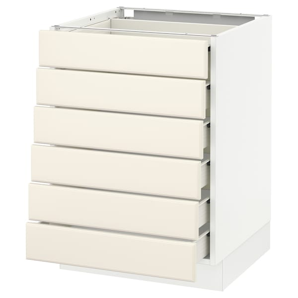 """SEKTION Base cabinet/6 fronts/6 low drawers, white Förvara/Bodbyn off-white, 24x24x30 """""""