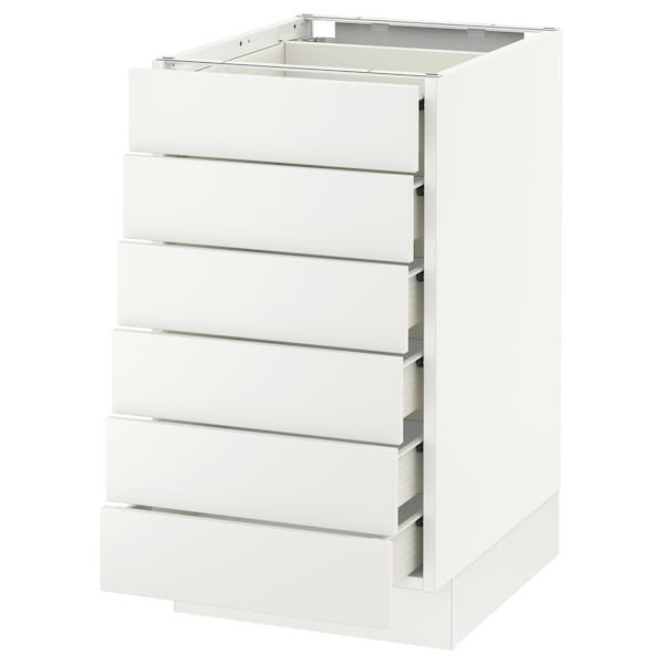 SEKTION Base cabinet/6 fronts/6 low drawers, white Förvara/Häggeby white, 18x24x30 ""
