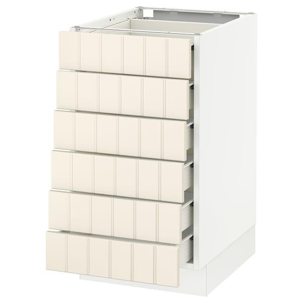 "SEKTION Base cabinet/6 fronts/6 low drawers, white Förvara/Hittarp off-white, 18x24x30 """