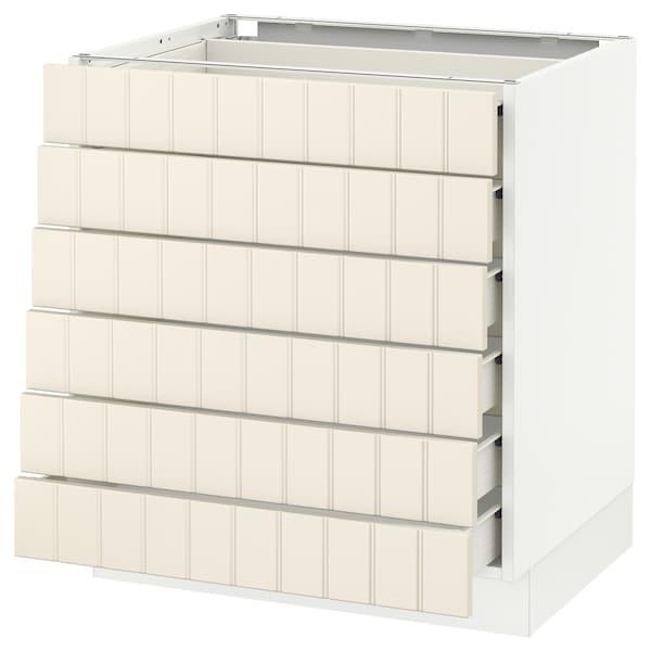 "SEKTION Base cabinet/6 fronts/6 low drawers, white Förvara/Hittarp off-white, 30x24x30 """