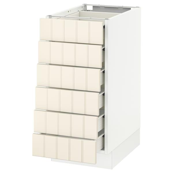 "SEKTION Base cabinet/6 fronts/6 low drawers, white Förvara/Hittarp off-white, 15x24x30 """