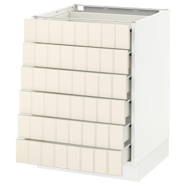 "SEKTION Base cabinet/6 fronts/6 low drawers, white Förvara/Hittarp off-white, 24x24x30 """