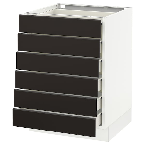 """SEKTION Base cabinet/6 fronts/6 low drawers, white Förvara/Kungsbacka anthracite, 24x24x30 """""""