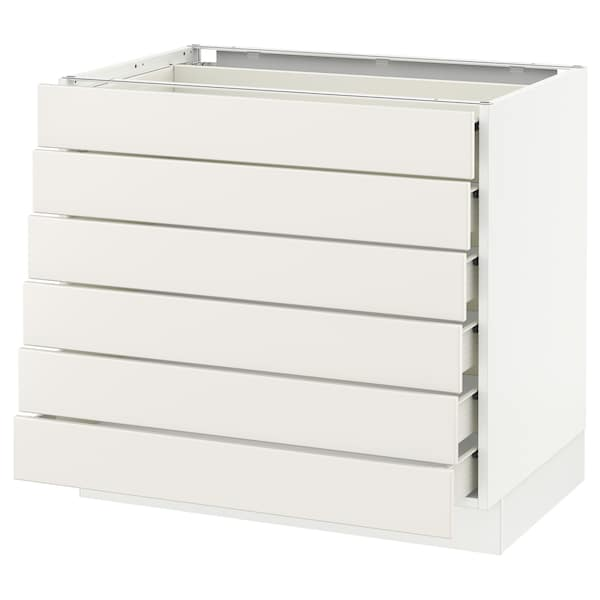 SEKTION Base cabinet/6 fronts/6 low drawers, white Förvara/Veddinge white, 36x24x30 ""