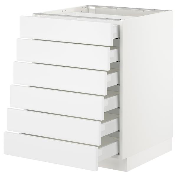 "SEKTION Base cabinet/6 fronts/6 low drawers, white Maximera/Axstad matt white, 24x24x30 """
