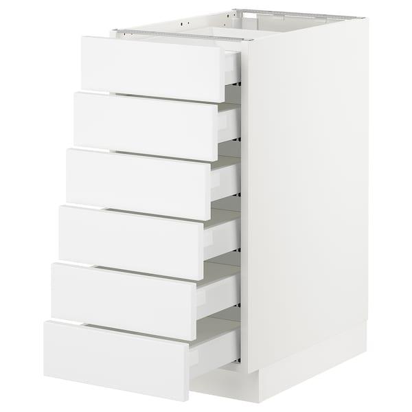 "SEKTION Base cabinet/6 fronts/6 low drawers, white Maximera/Axstad matt white, 15x24x30 """