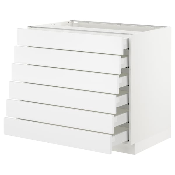 "SEKTION Base cabinet/6 fronts/6 low drawers, white Maximera/Axstad matt white, 36x24x30 """