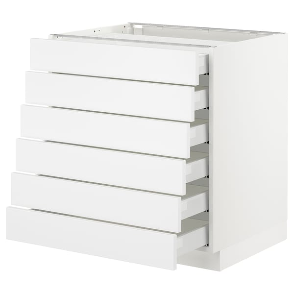 SEKTION Base cabinet/6 fronts/6 low drawers, white Maximera/Axstad matt white, 30x24x30 ""