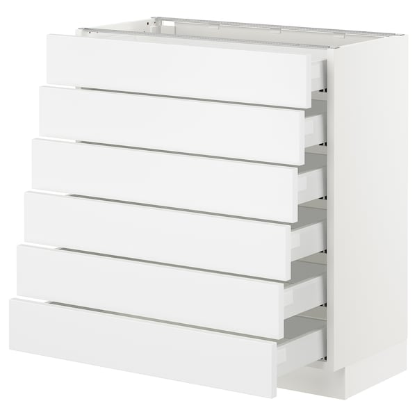 "SEKTION Base cabinet/6 fronts/6 low drawers, white Maximera/Axstad matt white, 30x15x30 """