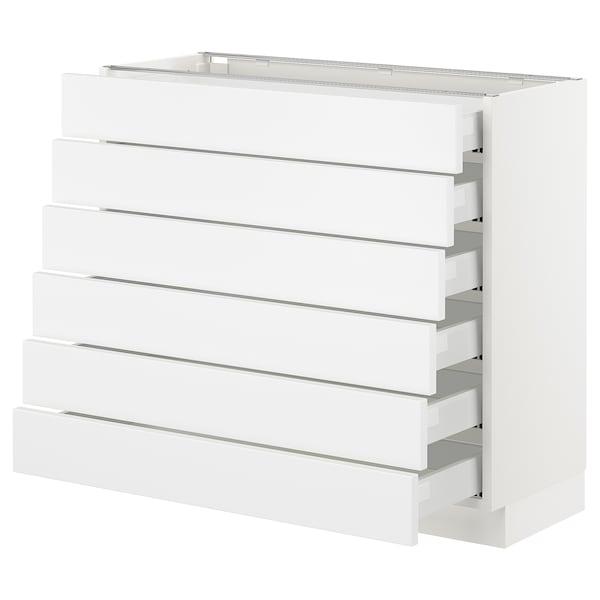 "SEKTION Base cabinet/6 fronts/6 low drawers, white Maximera/Axstad matt white, 36x15x30 """