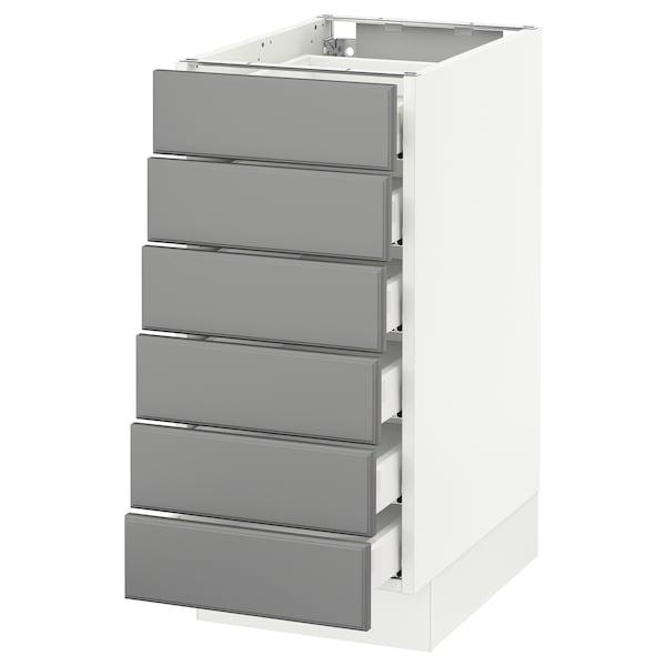 "SEKTION Base cabinet/6 fronts/6 low drawers, white Maximera/Bodbyn gray, 15x24x30 """