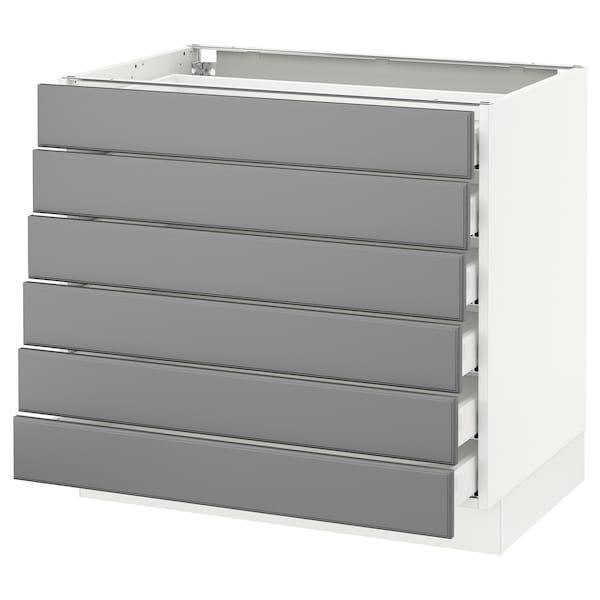 "SEKTION Base cabinet/6 fronts/6 low drawers, white Maximera/Bodbyn gray, 36x24x30 """