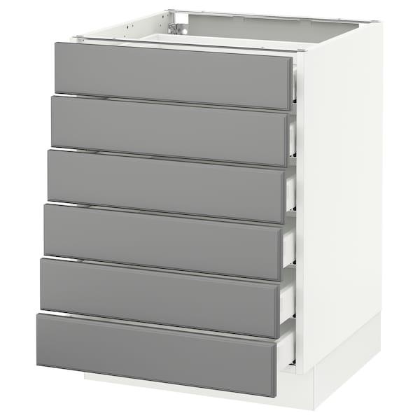 "SEKTION Base cabinet/6 fronts/6 low drawers, white Maximera/Bodbyn gray, 24x24x30 """