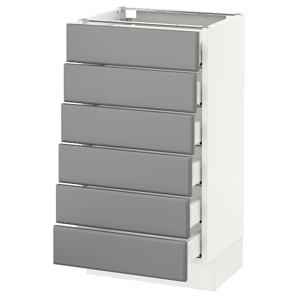 "SEKTION Base cabinet/6 fronts/6 low drawers, white Maximera/Bodbyn gray, 18x15x30 """