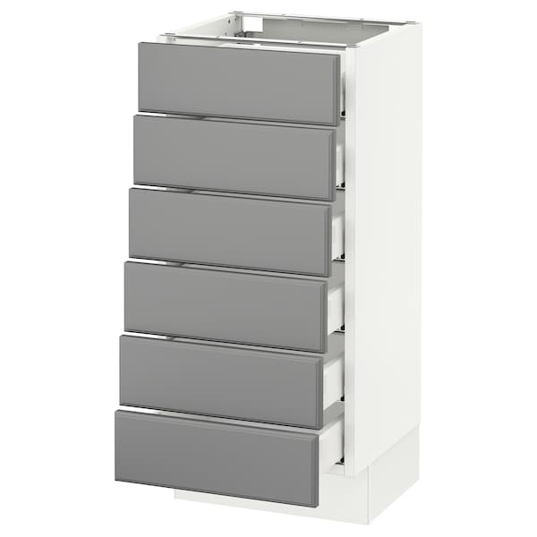 "SEKTION Base cabinet/6 fronts/6 low drawers, white Maximera/Bodbyn gray, 15x15x30 """