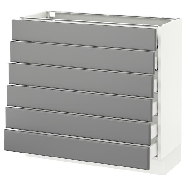 "SEKTION Base cabinet/6 fronts/6 low drawers, white Maximera/Bodbyn gray, 36x15x30 """