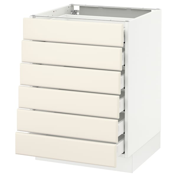 """SEKTION Base cabinet/6 fronts/6 low drawers, white Maximera/Bodbyn off-white, 24x24x30 """""""