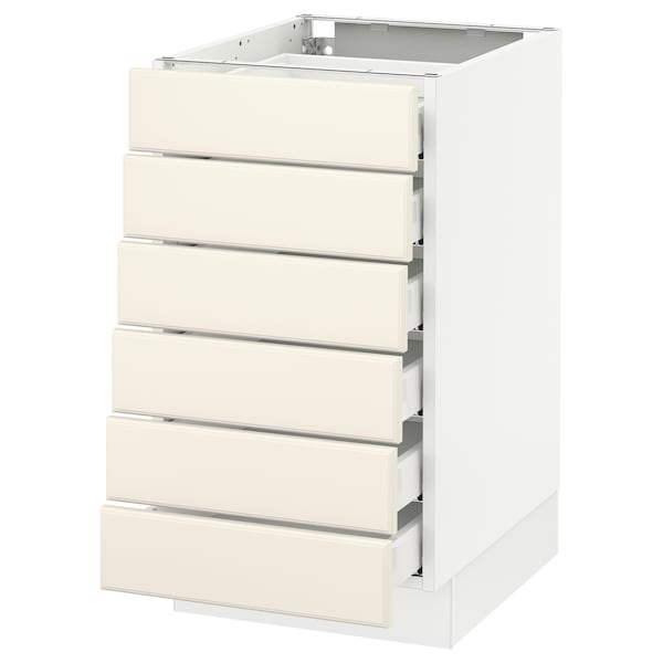 """SEKTION Base cabinet/6 fronts/6 low drawers, white Maximera/Bodbyn off-white, 18x24x30 """""""