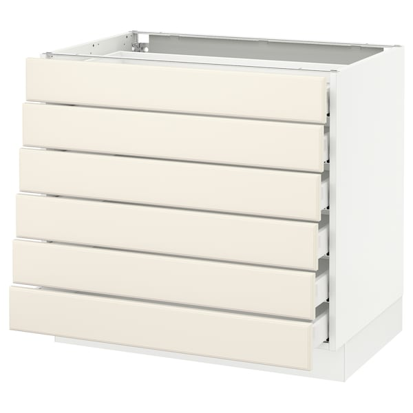 SEKTION Base cabinet/6 fronts/6 low drawers, white Maximera/Bodbyn off-white, 36x24x30 ""