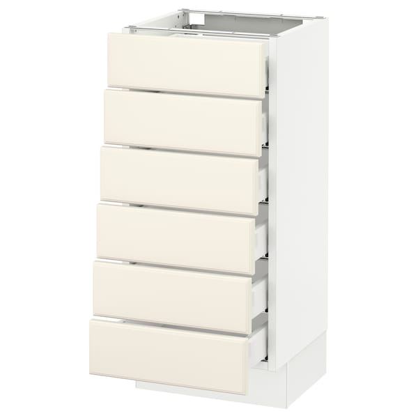 """SEKTION Base cabinet/6 fronts/6 low drawers, white Maximera/Bodbyn off-white, 15x15x30 """""""