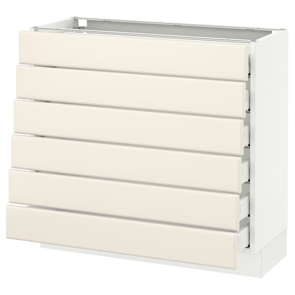 """SEKTION Base cabinet/6 fronts/6 low drawers, white Maximera/Bodbyn off-white, 36x15x30 """""""