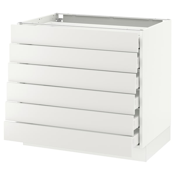SEKTION Base cabinet/6 fronts/6 low drawers, white Maximera/Häggeby white, 36x24x30 ""