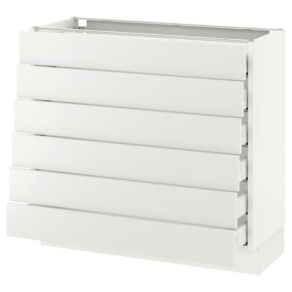 "SEKTION Base cabinet/6 fronts/6 low drawers, white Maximera/Häggeby white, 36x15x30 """