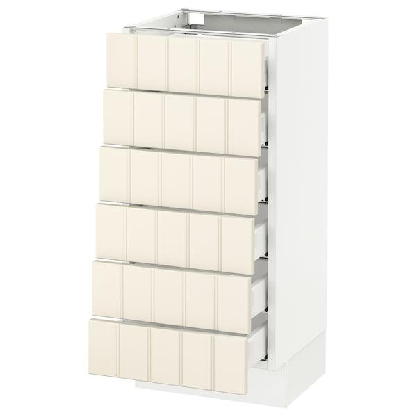 "SEKTION Base cabinet/6 fronts/6 low drawers, white Maximera/Hittarp off-white, 15x15x30 """