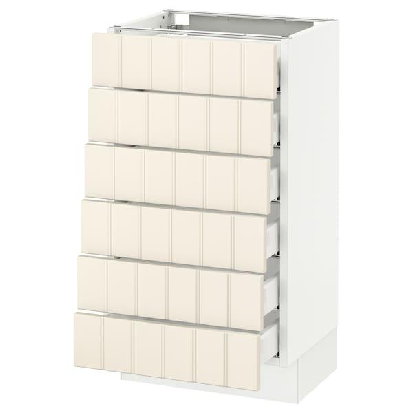 "SEKTION Base cabinet/6 fronts/6 low drawers, white Maximera/Hittarp off-white, 18x15x30 """