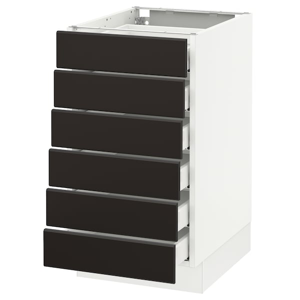 """SEKTION Base cabinet/6 fronts/6 low drawers, white Maximera/Kungsbacka anthracite, 18x24x30 """""""