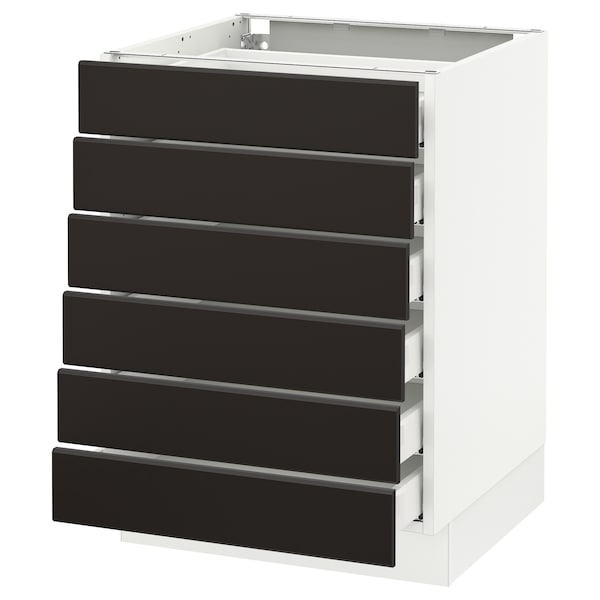 """SEKTION Base cabinet/6 fronts/6 low drawers, white Maximera/Kungsbacka anthracite, 24x24x30 """""""
