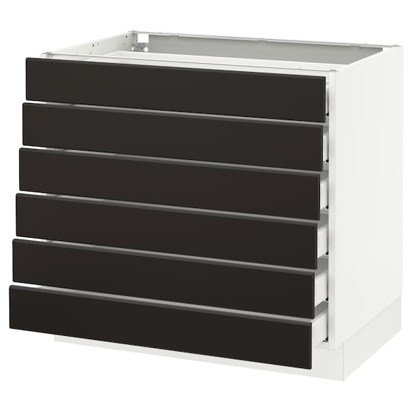 SEKTION Base cabinet/6 fronts/6 low drawers, white Maximera/Kungsbacka anthracite, 36x24x30 ""