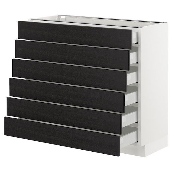 """SEKTION Base cabinet/6 fronts/6 low drawers, white Maximera/Lerhyttan black stained, 36x15x30 """""""
