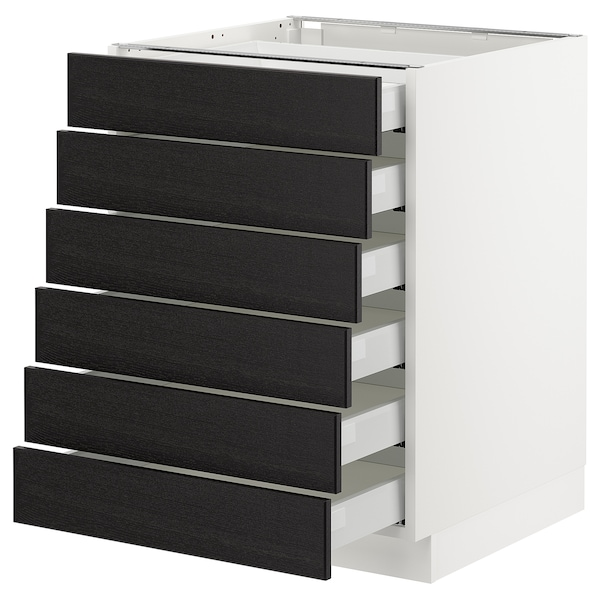"""SEKTION Base cabinet/6 fronts/6 low drawers, white Maximera/Lerhyttan black stained, 24x24x30 """""""